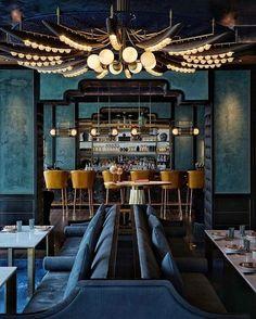 Architecture Restaurant, Restaurant Interior Design, Restaurant Lounge, Bar Lounge, Ocean Restaurant, Hemnes, Bangkok Thailand, Dark Wooden Floor, Blue Cafe