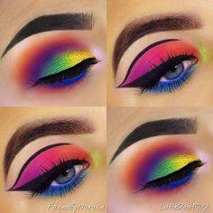Crazy Eye Makeup, Bold Eye Makeup, Creative Eye Makeup, Makeup Eye Looks, Beautiful Eye Makeup, Colorful Eye Makeup, Eye Makeup Art, Dramatic Makeup, Eyeshadow Makeup