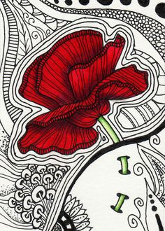 Discover gorgeous Zentangle drawings and illustrations on fine art prints. Fast and reliable shipping. Zentangle Drawings, Doodles Zentangles, Zentangle Patterns, Symbolic Art, Sharpie Art, Flower Doodles, Zen Art, Red Poppies, Mandala Art
