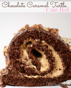 Chocolate Caramel Turtle Cake Roll by www.crazyforcrust.com | Chocolate Cake filled with whipped caramel - this is love! #caramel #turtle #cake