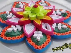 Paper Quilling : How to make Colorfull Rangoli flowers. Mandala designs