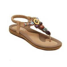 416b040f3ceb36 Womail 2016 Fashion Summer Atificial Gem Flowers Beaded Vintage Flats  Bohemian Herringbone Clip Toe Sandals Beach Shoes 41 Khaki -- See this  great product.
