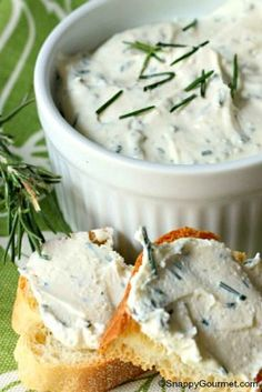 Rosemary, Lemon, & Feta Spread, an easy appetizer recipe ready in just a few minutes. SnappyGourmet.com
