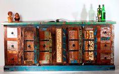 Shabby Chic Kolonial Möbel  Kommode 212x93x50cm