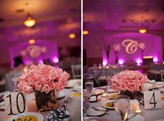 Delicate pink #roses make for a simply perfect #centerpiece at the purple #uplighting reception. Photo via #KWP #KirstenWeaverBlog