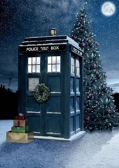 Doctor Who and Christmas! My 2 favourite things:) David Tennant, Blue Box, Christmas Morning, Christmas Tree, Doctor Who Christmas, White Christmas, Christmas Stuff, Christmas Feeling, Christmas Houses