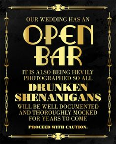 Open bar wedding sign. Great Gatsby themed party supplies. Roaring 20s printable wedding bar sign. Black and gold print party decorations