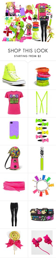 """Nutty c:"" by cutiepieadorbz ❤ liked on Polyvore featuring Converse, Cara Accessories, Kreepsville 666, American Apparel, Poste, Full Tilt, Betsey Johnson, Dollhouse, Tokyo Rose and Tarina Tarantino"