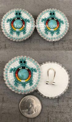Earrings 98497: Native American Beaded Round Turquoise Turtle Powwow Lever Post Earrings -> BUY IT NOW ONLY: $37.99 on eBay!