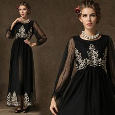 Retro-Golden-Embroidery-Sheer-Long-Sleeve-Womens-Vintage-Mesh-Evening-Long-Dress