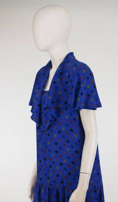 1980s Jean Muir, London blue dot silk dress | From a collection of rare vintage day dresses at https://www.1stdibs.com/fashion/clothing/day-dresses/