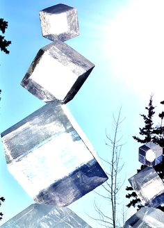 Cubic ice sculpture at 2012 World Ice Art Championship in Alaska.  Photo in a delightful blog post by Ana White.