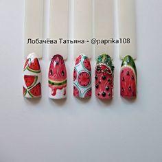 No photo description available. Watermelon Nail Art, Fruit Nail Art, Perfect Nails, Gorgeous Nails, Purple And Pink Nails, Nail Ink, Nail Art Wheel, Nail Stencils, Nails First