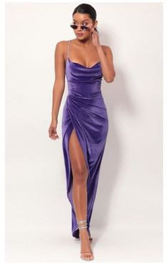 Pretty Prom Dresses, Ball Dresses, Elegant Dresses, Cute Dresses, Beautiful Dresses, Evening Dresses, Purple Formal Dresses, Long Purple Dress, Purple Velvet Dress