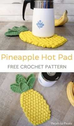 Most up-to-date Free Crochet coasters pineapple Concepts Pineapple Crochet Hot Pad Pattern Crochet Kitchen, Crochet Home, Free Crochet, Knit Crochet, Crochet Ideas, Crotchet, Diy Crochet Gifts, Holiday Crochet Patterns, Crochet Cup Cozy