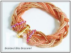 Braided Bliss Bracelet: Designed by Mabeline Gidez.. 5 herringbone cords, woven, meet RAW near clasp then embellished with crystals.
