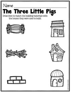 7 the Three Little Pigs Worksheets Matching Story Elements Made Practical and Fun with Familiar Characters √ the Three Little Pigs Worksheets Matching . 7 the Three Little Pigs Worksheets Matching . Preschool Printables, Preschool Lessons, Kindergarten Worksheets, Preschool Activities, Kindergarten Prep, Speech Activities, 3 Little Pigs Activities, Fairy Tale Activities, Three Little Pigs Story