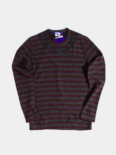 Embroidered Collar Stripe Sweatshirt