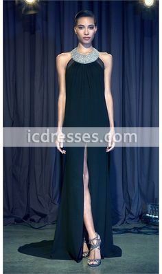 2016 New Coming O-Neck Beaded Black Chiffon Special Occasion Dress Front Split Evening Dresses Long Party Gowns