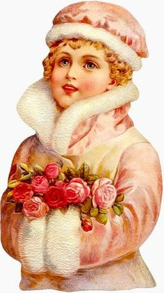 Vintage Christmas Girl Pink Roses Graphic Image Art Fabric Block Doodaba 6 x 10 Éphémères Vintage, Clip Art Vintage, Vintage Ephemera, Vintage Greeting Cards, Vintage Postcards, Vintage Prints, Vintage Christmas Images, Victorian Christmas, Christmas Art