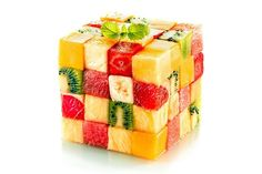 Fruit cube with assorted tropical fruit. Fruit cube formed from small squares of , Cubes, 7 Day Diet Plan, Food Wallpaper, Fruit Arrangements, Summer Fruit, Fruit Recipes, Fruits And Veggies, Vegetables, Fruit Salad