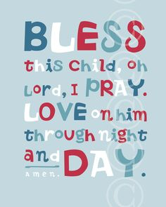 Bless This Child prayer - Christian Word Art for boy's room.
