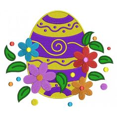 Fancy Easter Egg With Flowers Filled Machine Embroidery Digitized Design Pattern