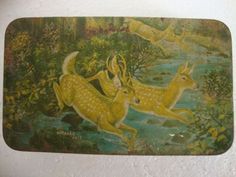 Vintage Two Deer Running in the Forest Natekar Arts Litho Print Tin Box