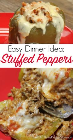 Easy stuffed peppers recipe! A simple easy dinner recipe that your family will absolutely love! Stuffed peppers | easy peppers | simple dinner recipe ideas | easy weeknight dinners | family dinner recipes #peppers #easydinner #simplerecipes #dinnerideas #recipes