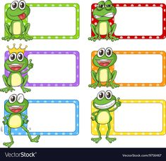 Square label with green frogs vector image on VectorStock Frog Theme Preschool, Name Tag Templates, Frog Art, Green Frog, July Crafts, Butterfly Art, Name Tags, Sticker Design, Vector Free