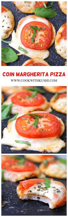 Coin Margherita Pizza is a thin and crispy crust pizza bursting with flavors from fresh, soft and chewy mozzarella cheese, tanginess from tomatoes and sauce, and sweet aroma from basil leaves. #margheritapizza #margheritaflatbread #mozzarella #mozzarellatomatobasil #pizzarecipes #cheeserecipes #summerfoodideas #dinnerideas #kidsfood #tomatoes #tomatorecipes  #basilpesto #basilrecipes #chickenrecipes #grilledrecipes #vegetarian #veggies #vegetariandishes #pizzadoughrecipes #easypizza… Basil Recipes, Vegan Recipes Easy, Pizza Recipes, Grilling Recipes, Beef Recipes, Chicken Recipes, Sandwich Recipes, Italian Recipes, Cookie Recipes