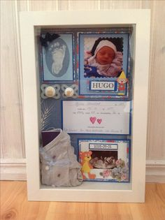Shadow box using a IKEA Kasseby box. Perfect for babies first memories.