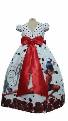 f5fe624b5 Vestido LadyBug Miraculous Infantil Tam. 01 ao 14 - Tia Gina Vestidos  Infantis Temáticos feito