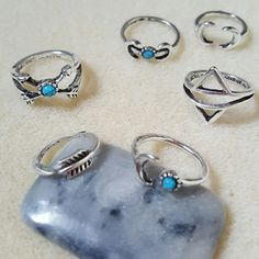 Boho Turquoise Rings Set Punk Jewelry Bohemian Jewelry Gift for Her