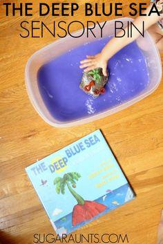 The Deep Blue Sea book sensory bin idea for kids and a Preschool Play Date activity.