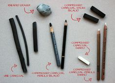 Charcoal tools for charcoal drawing- vine charcoal sticks, compressed charcoal sticks, kneaded eraser, charcoal pencils, white charcoal sticks and pencils