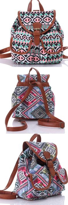 Folk Irregular Pattern Floral Prints Women Rucksack Totem School Backpack from…