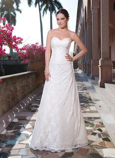 Sweetheart Gowns sweetheart style 6065 Ivory Size 16Rochelle lace A-line dress accented with a sweetheart neckline