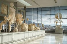 athens greece - december 17 2015: interior view of the new acropolis museum in athens. designed by the swiss-french architect bernard tschumi. open to the public since 2009.