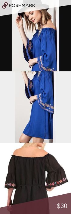 New off shoulder Bardot dress Beautiful. New with tag(tag is cut in half) but never worn. Embroidered dress wth off shoulder detail. Sleeves are like the 3rd picture. Fit and color is like the first two. Cobalt blue. Dresses