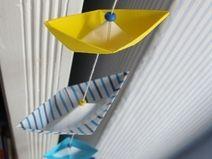 Girlande Origami Kette *Boote* Streifen Blau