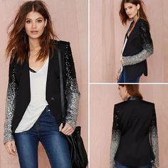 Fashion PU Leather Spliced Sequins Long Sleeve Slim Fit Blazer