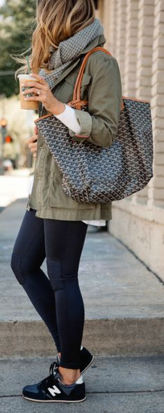 d78db4adb68e Ashley Robertson wears a khaki army jacket over black leggings  completing  the look with a