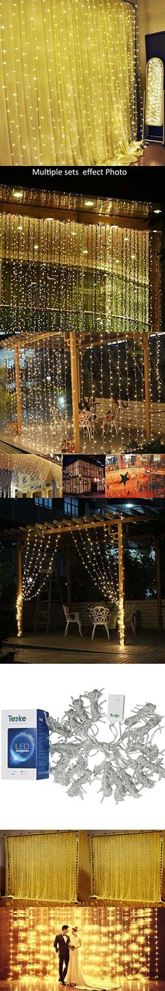 Teeke Curtain Lights,8 Model Window Icicle Lights 304 Led 9.8ft*9.8ft Christmas Fairy Strings Lights for Wedding,Valentine's Day, Party, Holiday, Outdoor Wall , Home Garden Decorations Warm White