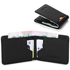 ab35b9df8cb4f Leder Geldbeutel mit RFID Schutz Männer Geldklammer RFID Kreditkartenetui  Brieftasche Kartenetui Portmonee Herren Geldscheinklammer Herren Geldbörse