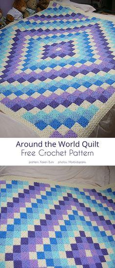 Around the World Quilt Free Pattern Crochet Afghans, Crochet Quilt Pattern, Crochet Squares Afghan, Easy Crochet Blanket, Granny Square Crochet Pattern, Crochet Blanket Patterns, Crochet Yarn, Crochet Stitches, Free Crochet