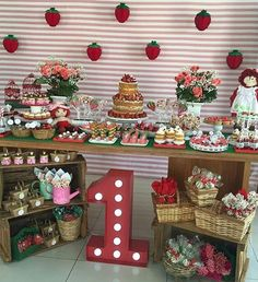 Decoration for strawberry rose piñatas First Birthday Themes, Baby Girl 1st Birthday, First Birthdays, Dessert Table Birthday, Picnic Birthday, 16 Birthday Presents, Belated Birthday Greetings, Birthday Wishes Flowers, Strawberry Shortcake Birthday