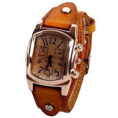 SHARE & Get it FREE   Quartz Watch with Analog Real Leather Watchband for…