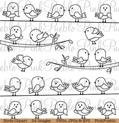 Illustration of Set of Line Art Cartoon Birds vector art, clipart and stock vectors. Vogel Clipart, Bird Clipart, Doodle Drawings, Doodle Art, Easy Drawings, Mundo Hippie, Fourth Of July Crafts For Kids, Bird Doodle, Drawing Lessons