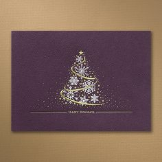 Holiday Tree - Card Dazzle those on your mailing list this holiday season. A magical tree of gold and silver stands beautifully on a textured eggplant background.